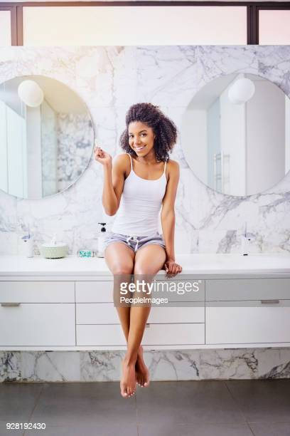 one radiant smile coming right up - dressing table stock photos and pictures