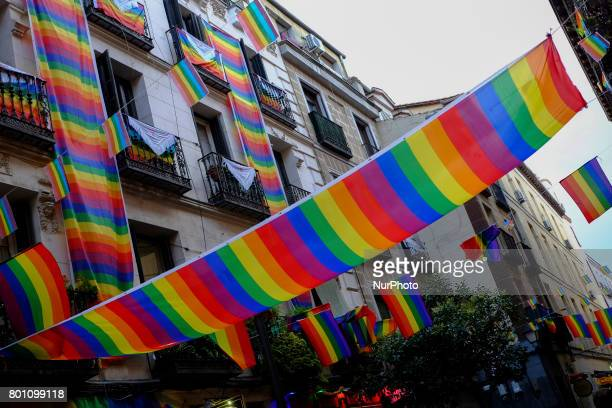 One rainbow flag in Madrid's Chueca district on June 25 2017 during the WorldPride 2017 Some three million revellers are expected in the Spanish...