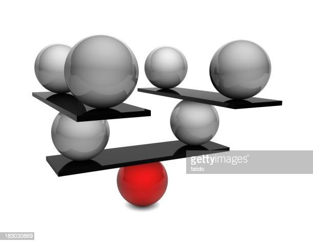 One red ball balancing black boards and many silver balls