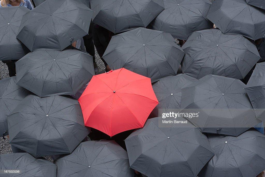 Um guarda-chuva vermelho no centro de várias preto guarda-sóis : Foto de stock