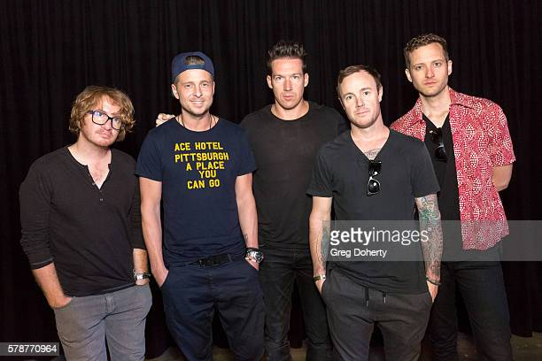 One Republic Band Members Drew Brown Ryan Teddy Zach Flkins Eddie Fisher and Brent Kutzle pose for a portriat before their live performance at KROQ...