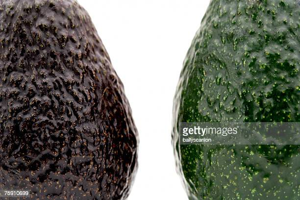 One ripe and one unripe avocado (persea americana) close-up