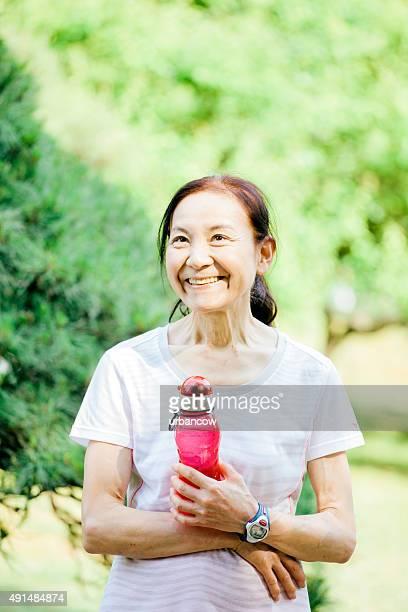One senior woman after a run, Yoyogi Park,Tokyo, Japan