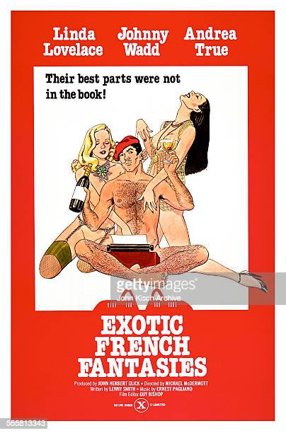 One sheet movie poster advertises 'Exotic French Fantasies,' starring John Holmes, Linda Lovelace, and Andrea True, 1974.