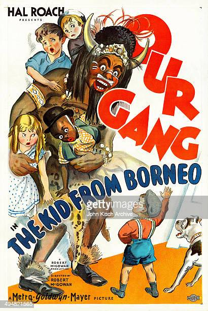 One sheet movie poster advertises the Our Gang comedy 'The Kid From Borneo' starring John Lester Johnson Matthew 'Stymie' Beard and George 'Spanky'...