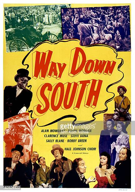 One sheet movie poster advertises 'Way Down South,' a plantation drama written by Langston Hughes and starring Clarence Muse, Matthew Stymie Beard...