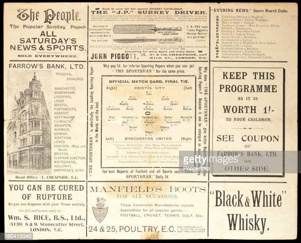 One side of a very rare vintage official programme for the 1909 Football Association Cup final match between Manchester United and Bristol City...