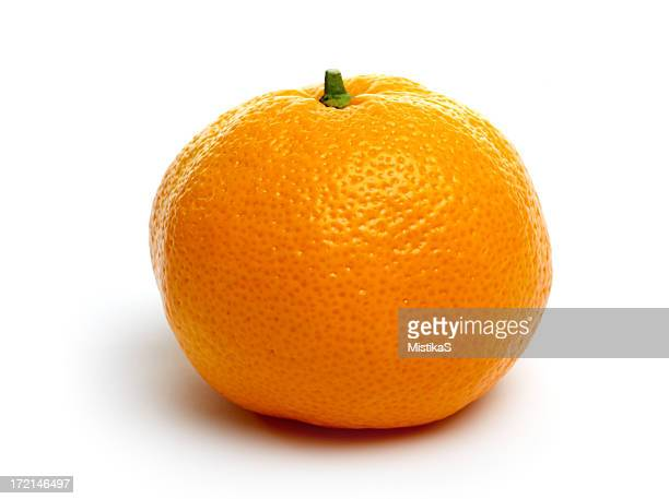 One single tangerine isolated on a white background