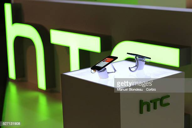 One smartphone sits on display at the HTC Corp pavilion during the Mobile World Congress at the Fira Gran Via complex in Barcelona Spain on February...