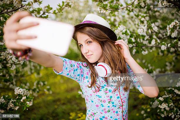 one spring selfie! - one teenage girl only stock pictures, royalty-free photos & images