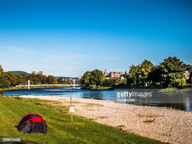 one tent at river ness, inverness, scotland - inverness stock photos and pictures
