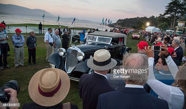 One time in the Otis Chandler auto collection John Shibles now owns this 1933 Lincoln John drives this V12 pre dawn Sunday morning onto the 18th...
