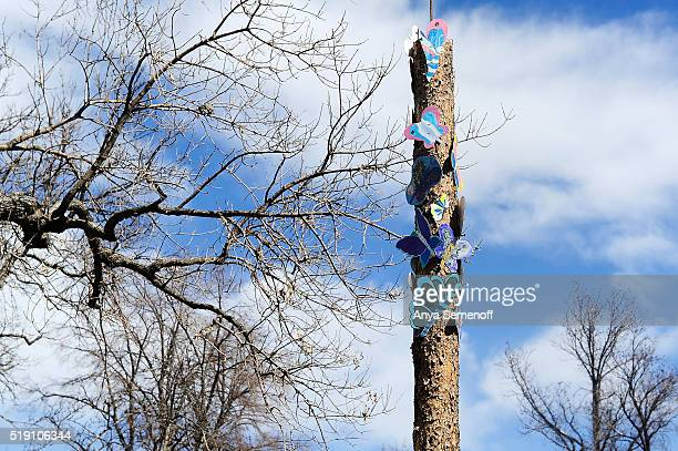 One totem of the Butterfly Walk at La Alma Lincoln Park on March 22 in Denver Colorado The walk is part of the PS You Are Here program which provides...