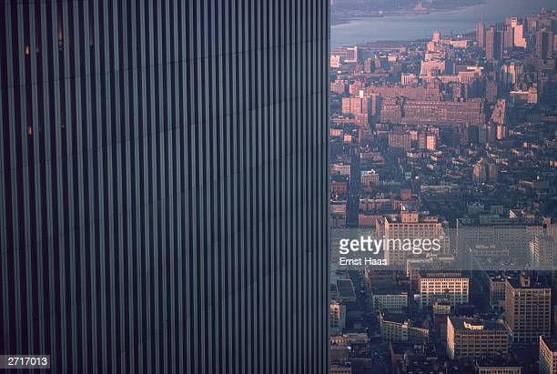 One tower of the World Trade Center in lower Manhattan New York City