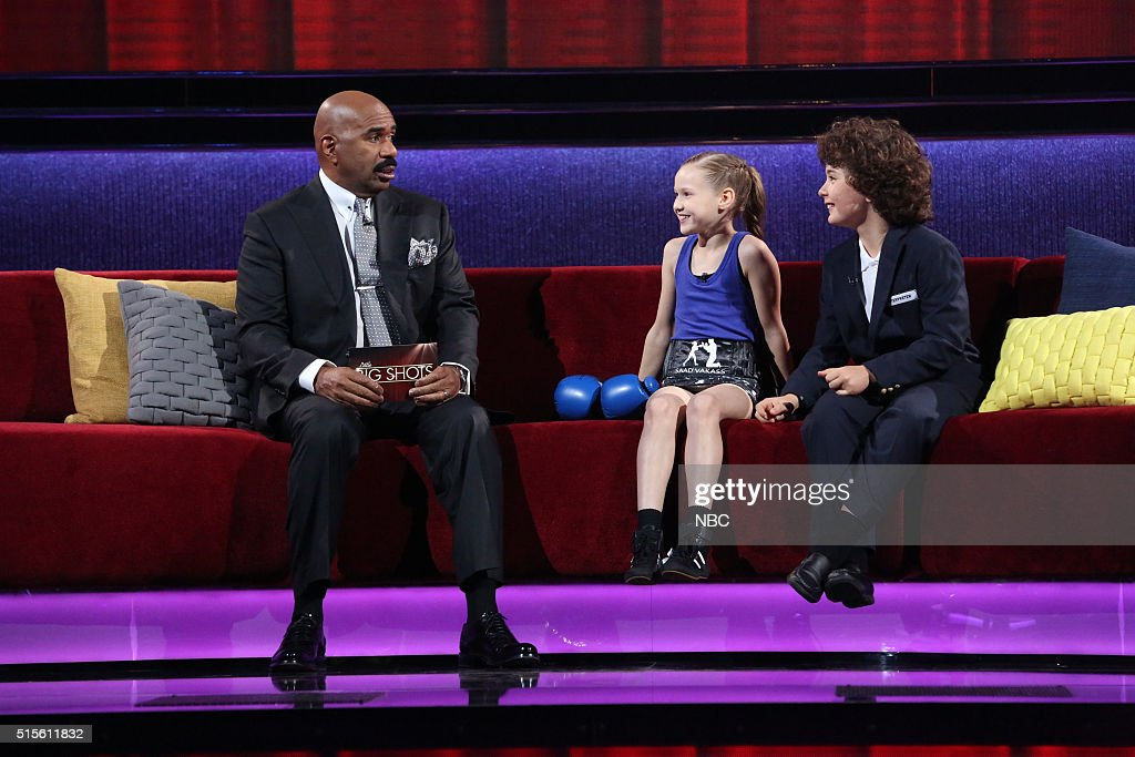 SHOTS -- 'A One, Two Punch' Episode 102 -- Pictured: (l-r) Steve Harvey, Evnika Saadvakass, Interpreter --
