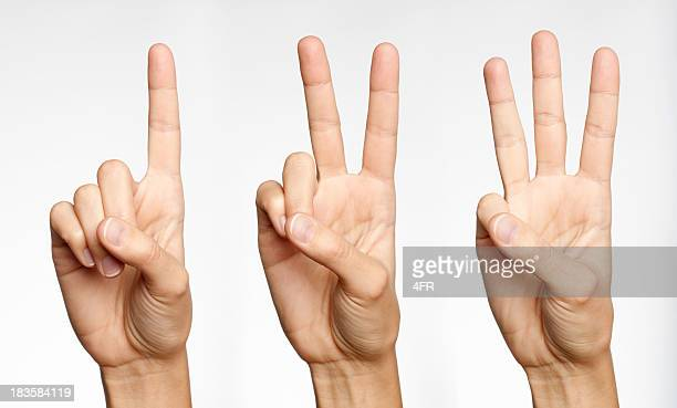 one, two, three - counting with fingers (xxxl) - three objects stock pictures, royalty-free photos & images