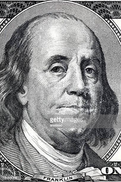 Eine USA. US-Dollar mit Detail an Benjamin Franklin