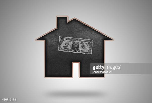 One USD Real Estate Finance Blackboard with soft Wooden Frame
