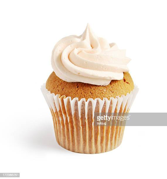 One vanilla cupcake with buttercream icing