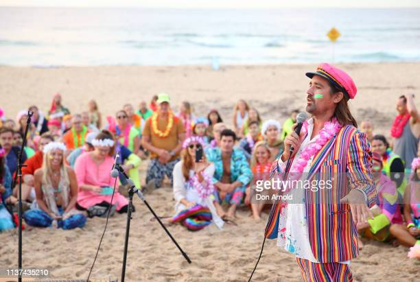 One Wave founder Grant Treblico addresses the crowd at Bondi Beach on March 22 2019 in Sydney Australia Surfers gather to celebrate five years of...