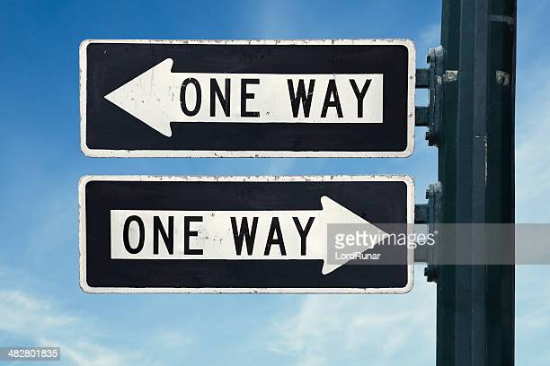 one way confusion - one direction stock pictures, royalty-free photos & images