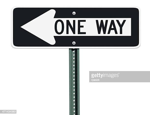 one way left sign isolated - one direction stock pictures, royalty-free photos & images