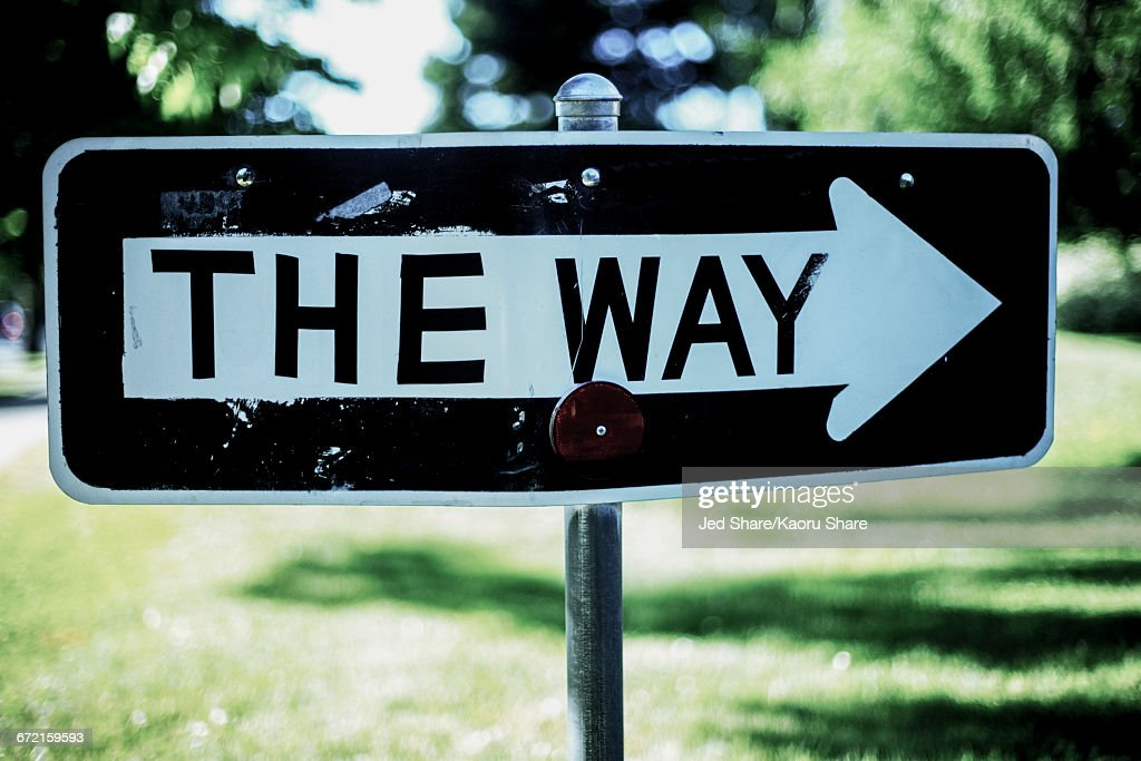 One way sign change to the way : Stock Photo
