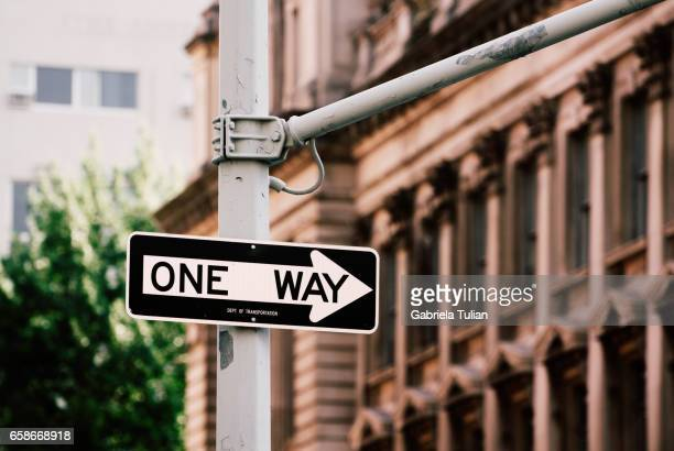 One way sign in New York City, USA