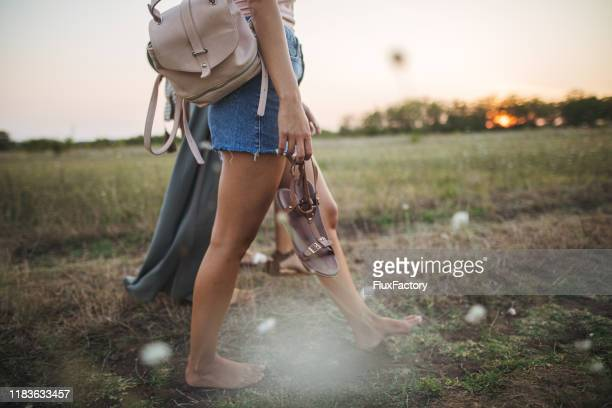 one with nature - barefoot stock pictures, royalty-free photos & images