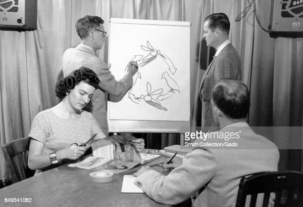 One woman and three men practice drawing training aids for teaching about vectorborne diseases including malaria in this case one man draws the life...
