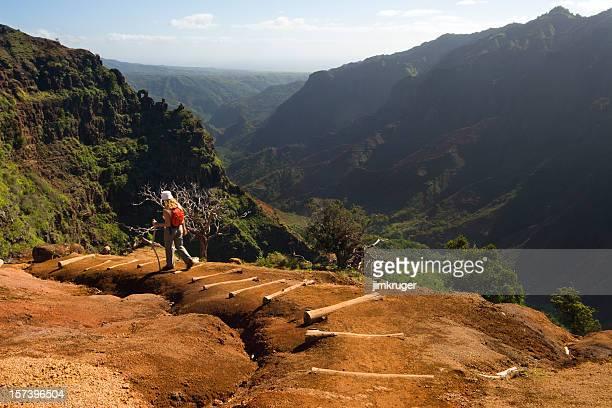 one woman hiking a waimea canyon trail, hawaii. - kauai stock pictures, royalty-free photos & images