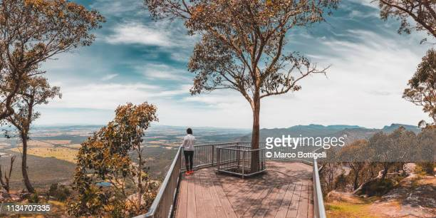 one woman looking at view in the grampians national park, australia - victoria australia stock pictures, royalty-free photos & images