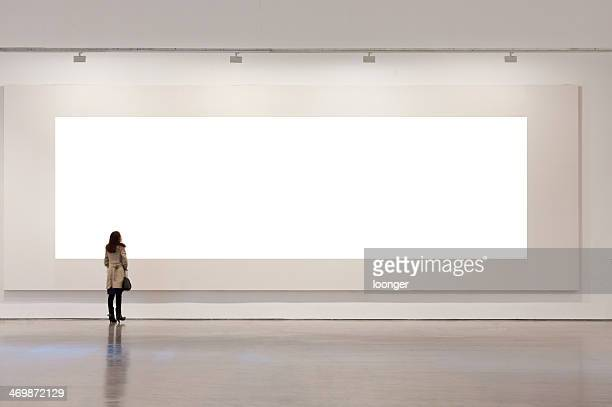 one woman looking at white frame in an art gallery - art gallery stock pictures, royalty-free photos & images