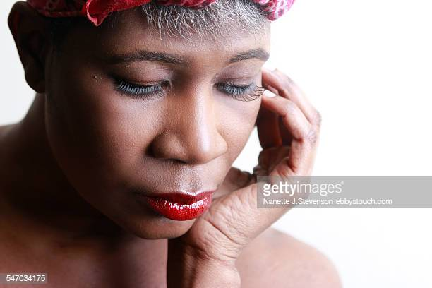 one woman looking away from camera - nanette j stevenson stock photos and pictures