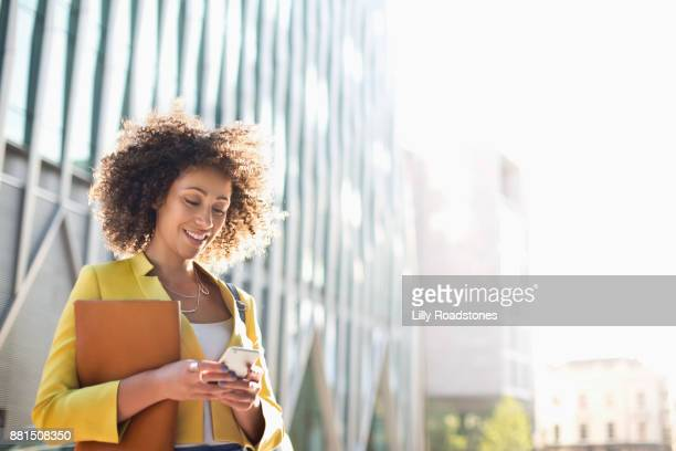 One Woman Only Texting in City