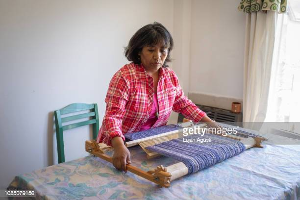 One woman works with different weaving techniques