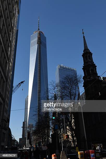 One World Trade Center informally called 'Freedom Tower' still under construction January 29 2014 in New York Other buildings are Seven World Trade...