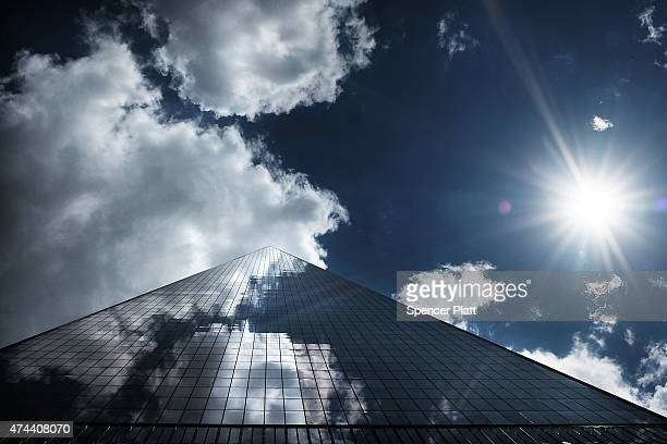 One World Trade Center is viewed a week before the newly built observation deck opens on May 22 2015 in New York City The observation deck sits atop...