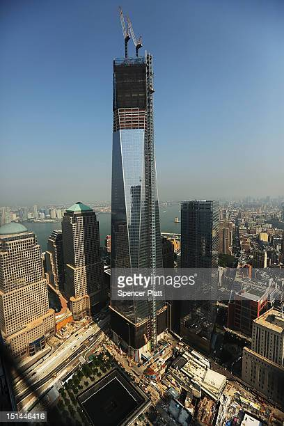 One World Trade Center is viewed from the 72nd floor of Four World Trade Center on September 7 2012 in New York City As New York City and the country...