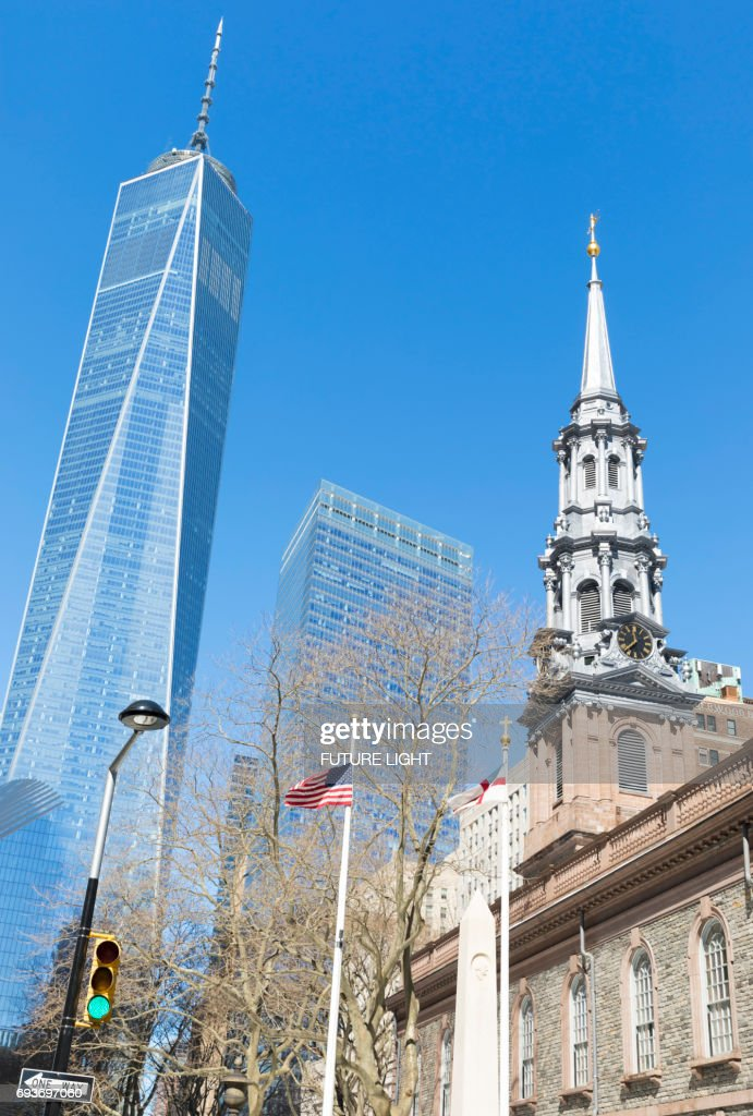 One World Trade Center Skyscraper (also Know As Freedom Tower) U0026 St. Paulu0027s  Chapel Of Trinity Church, New York City, USA