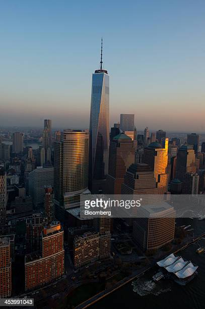 One World Trade Center stands in downtown Manhattan in this aerial photograph taken in New York US on Tuesday Dec 3 2013 US stocks declined a fifth...