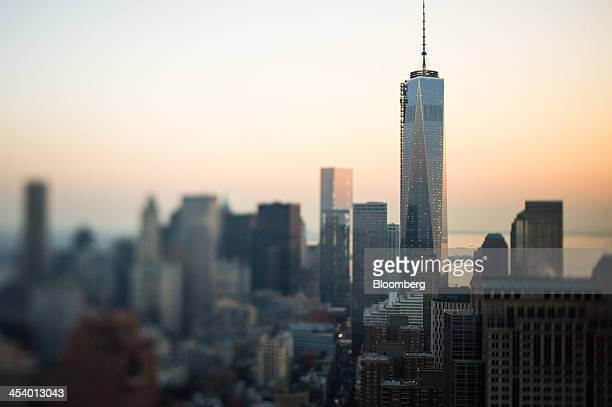 One World Trade Center stands in downtown Manhattan in this aerial photograph taken with a tiltshift lens in New York US on Tuesday Dec 3 2013 US...