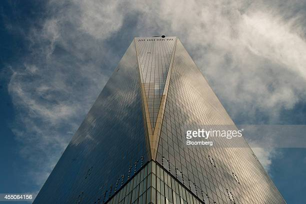 One World Trade Center stands in New York US on Sunday Sept 7 2014 With building at the World Trade Center site set to be substantially completed in...