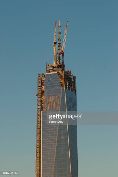 One World Trade Center under construction. The facade is almost complete in early May of 2013