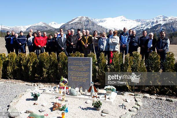 VERNET SeynelesAlpes PradsHauteBléone ALPES FRANCE MARCH 20 one year after the crash of the airbus of the Germanwings by Andreas Lubitz the mayors...