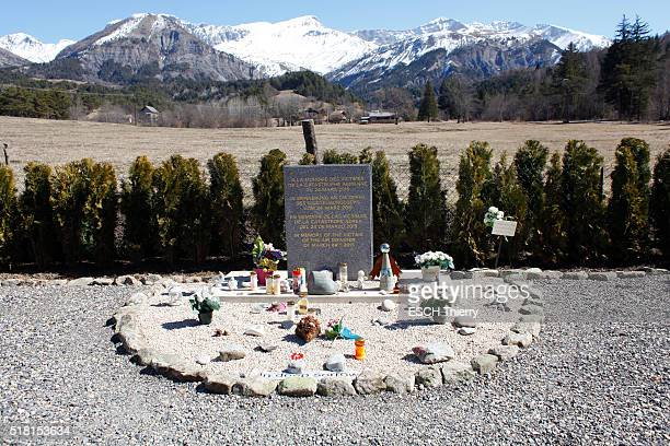 VERNET SeynelesAlpes PradsHauteBléone ALPES FRANCE MARCH 20 one year after the crash of the airbus of the Germanwings by Andreas Lubitz the moment...