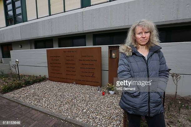 GERMANY HALTERN MARCH 19 one year after the crash of the airbus of the Germanwings by Andreas Lubitz Annette Bless the mother of Elena who died in...
