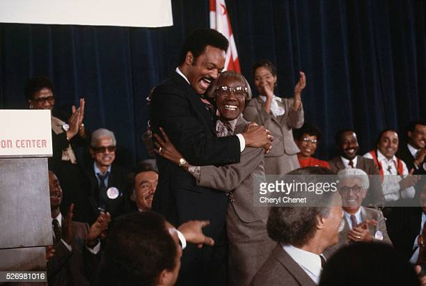 One year before the 1984 presidential election Baptist minister and civil rights activist Jesse Jackson hugs former New York congresswoman Shirely...