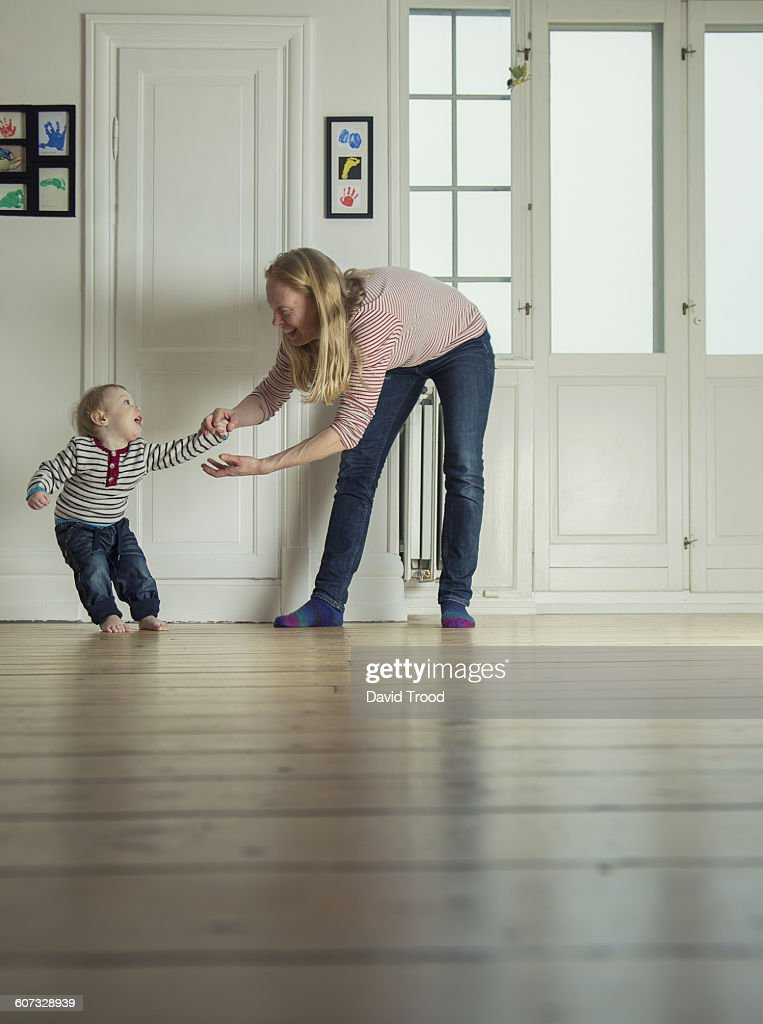 One year old boy being stubborn : Stock Photo