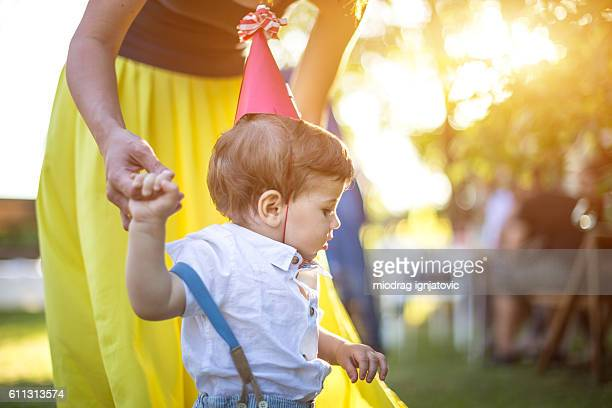 One year old boy on a party